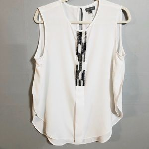 Vince Camuto White Sleeveless Beaded Top